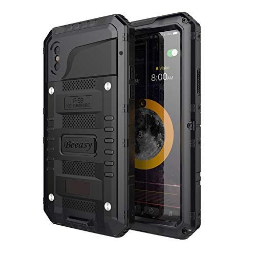 Beeasy Hülle Kompatibel mit iPhone XS/X, [Wasserdicht] Stoßfest Outdoor Handy Case Militärstandard Schutzhülle mit Displayschutz Robust Metall Schutz vor Stürzen Stößen Heavy Duty Handyhülle,Schwarz