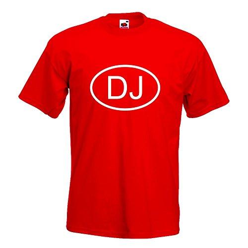 KIWISTAR - Dschibuti DJ T-Shirt in 15 verschiedenen Farben - Herren Funshirt bedruckt Design Sprüche Spruch Motive Oberteil Baumwolle Print Größe S M L XL XXL Rot