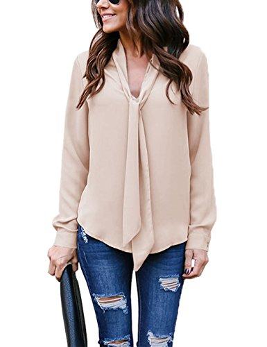 Helury Bluse Damen, Chiffon Elegant Bluse Hemd Aus Fließendem Stoff Leicht Langarmshrit V-Ausschnitt T-Shirt für Alltag Muttertag Geschenk (Khaki, XL)