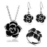 Emorias 1 Set Halskette aus Legierung rosa schwarz Ohrringe Schmuckset Damen Ring Hochzeit Geschenke Set 2 * 2cm Schwarz