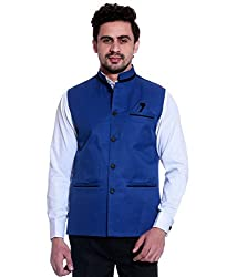 FDS cotton Jute Nehru Jacket Waistcoat ocassion partywear festival marriage ethinic coat for Mens (Small, Blue)