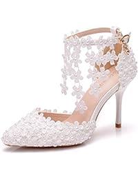 d2691f92510 JRYYUE Tacón de Aguja Para Mujer Zapatos Boda Del Alto Talón Peep Toe Pearls  Boca Superficial