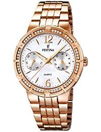 University Sports Press  F16702/1 - Reloj de cuarzo para mujer, con correa de acero inoxidable chapado, color oro rosa