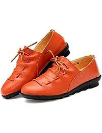 FuweiEncore Zapatos Antideslizantes de tacón bajo para Damas, Estudiantes, de Cuero Real, cómodos
