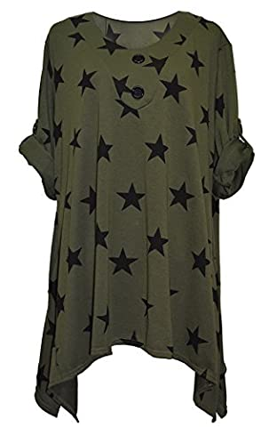 Stylish Ladies Womens Lagenlook Multi Stars Print Turn Up Sleeve Tunic Top Spring Top Dress Plus size