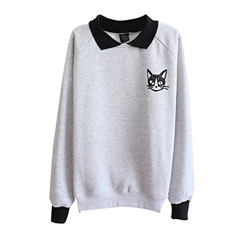 Frauen Niedlich 3D Katze Muster Sweatshirt Pullover Thick Für Winter Grau One (Hässliche Pullover Anzug)