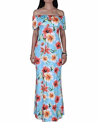 BIUBIU Women's Floral Off Shoulder Ruffle Bodycon Long Party Maxi Dress Blue Print (Thickened) UK 18