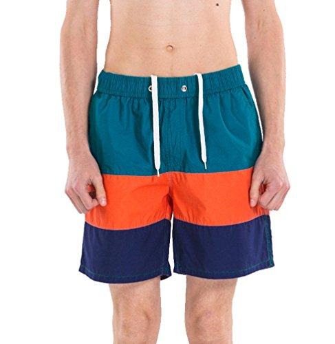 CHENGYANG Herren Atmungsaktiv Kurze Hosen Kordelzug Beachshorts Multitasche Boardshorts Dunkelgrün