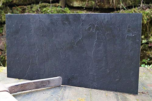 Magnettafel Echt Schiefer 4 In 1 (Magnetwand+Kreidetafel+Pinnwand+Wandbild) Naturstein Magnetboard inkl 1 x Steinmagnet und 1x Kreidestück Größen 30x60 cm, 40x60 cm,80x60 cm(Grey Impact, 80cmx61cm)
