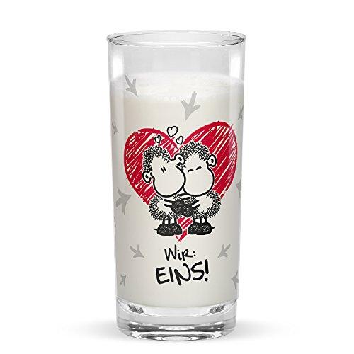 sheepworld 45188 Setich: Deins Du: Meins Wir: Eins, Geschenkset aus 2 Gläsern Je 30 Cl, in Geschenkverpackung, mit Liebesmotiv, Mehrfarbig, 6.2 cm cm