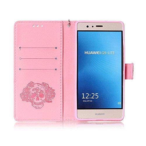 Hülle für Huawei P9 Lite, Tasche für Huawei P9 Lite, Case Cover für Huawei P9 Lite, ISAKEN Blume Schmetterling Muster Folio PU Leder Flip Cover Brieftasche Geldbörse Wallet Case Ledertasche Handyhülle Skull Blumen Pink