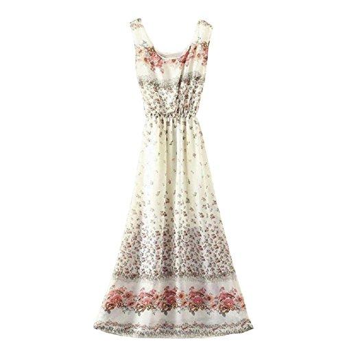 BOMOVO Damen Sommer Ohne Arm Lang Chiffon Strandkleid Abendkleid Maxi Kleid 42 Farbe A32