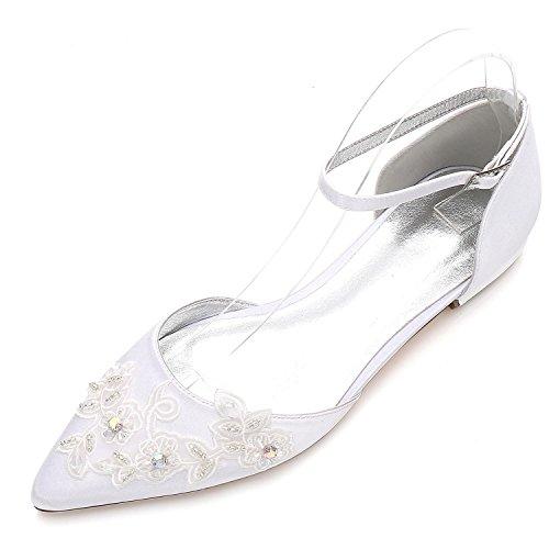 L@YC Damen-Hochzeits-Court-Schuhe 5047-16 Schnallen-Blumen-Pumpen schlossen Zehe-Plattform-Flache Schuhe, White, 36