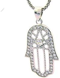Colgante mano de Fátima de plata 925Sterling chapado en oro blanco contornata de circonitas blancas longitud 5cm hipoalergénico