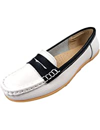 cb2cea342ad Jo   Joe Ladies Leather Loafer Work Flat Comfort Casual Shoes Womens White  Navy Silver