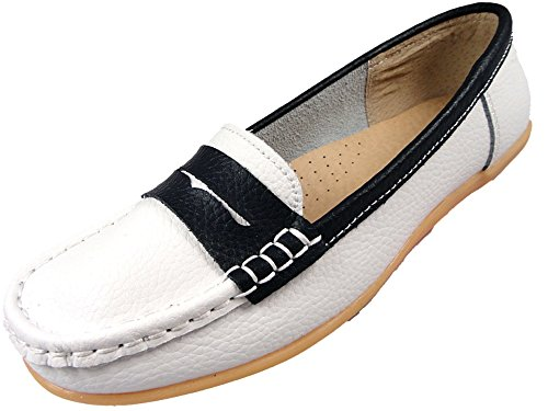 Ladies Leather Loafer Work Flat Comfort Casual Shoes Womens White Navy Silver (6 UK, Navy/White)