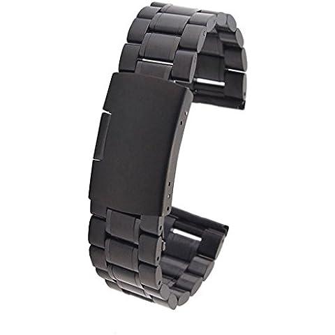 WOSUK correas de reloj 22mm Reloj Banda de reemplazo Metal Inoxidable Acero Correa Pulsera Universal para Huawei Samsung Asus LG R380 R381 R382 correa de reloj W100 W150 W110 WI500Q WI501Q (Metal Negro)