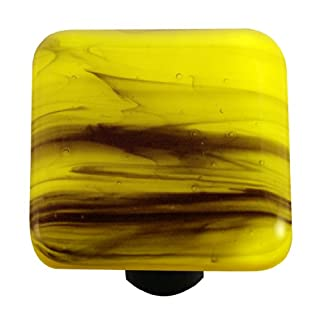 Aquila Art Glass HK2056-KA Swirl Collection Knob, Black and Canary Yellow