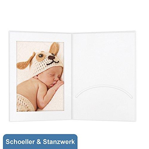 fotomappen bestellen 100 Stück Portraitmappen mit Passepartout und Einsteckschlitz für 13x18 cm Fotos - weiß - Kwick - Schoeller & Stanzwerk