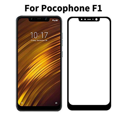 Tingtong Full Glue, Full Coverage Edge-to-Edge 5D Tempered Glass Screen Protector for Xiaomi Pocophone Poco F1 (Black)