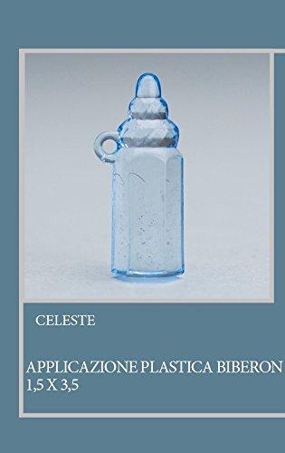 Lot 50 pièces, Bonbonnière application Biberon en plastique, dimension cm 1,5 x 3,5, pour marque-place, composition Confetti. (ck6117) bleu ciel