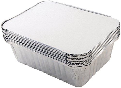 Tala - set di 10 vaschette in alluminio con coperchio, 20 x 11 x 5,5 cm, colore argentato