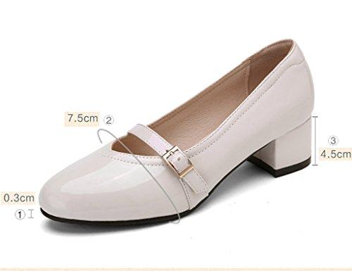 HWF Chaussures femme Printemps Shallow Mouth Single Chaussures à talons hauts A Pedal Casual Chaussures pour femmes ( Couleur : Noir , taille : 38 ) Beige