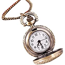 Kolylong Vintage Retro Bronze Quartz Pocket Watch flower Sculpture Pendant Chain Necklace