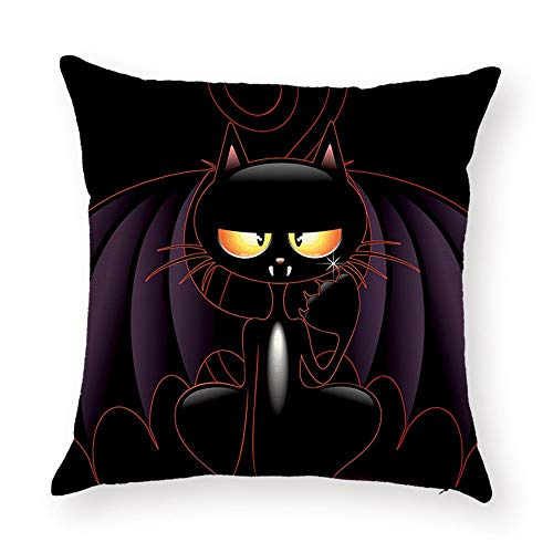 DHNKW Halloween Black Cushion Covers Jack-O'-Lantern Cat Bat Painting Thick Polyester Double-Sided Throw Pillow Cases for Home Sofa Bed Decorative(16