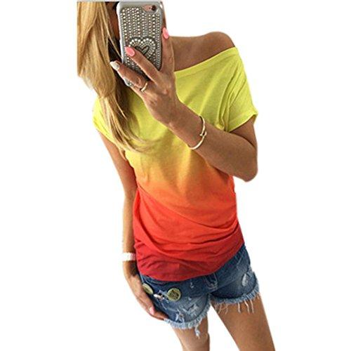 camisa de las mujeres, FEITONG Verano de las mujeres ocasionales del chaleco de manga corta blusa suelta tapas del tanque de la camiseta (S, Orange) (L,