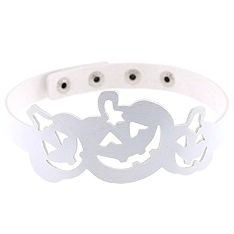 Beydodo Halloween Schmuck Leder Choker-Halskette Damen Kürbis Halsband Weiß (Region 10 Kostüm)