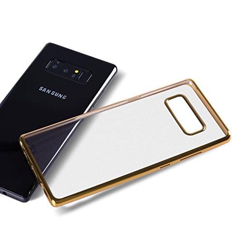 Dimi Samsung Galaxy Note 8 Hülle Samsung Note 8 Schutzhülle, Transparent Ultra Dünn Handyhülle Plating Soft Flex TPU Handyhülle für Samsung Galaxy Note 8 Case Cover Transparent Gold