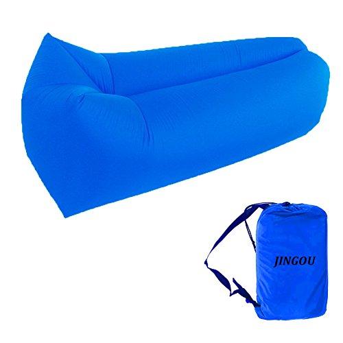 Tumbona inflable con bolsa de transporte; tumbona de playa; sofá inflable; cama flotante para piscina; para uso en interiores o al exterior; senderismo; acampada, playa, parque, patio trasero; impermeable; duradera, Darkblue