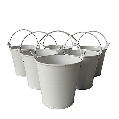 10pcs/lot White Mini Pail Chocolate Small Metal Bucket Tin Favor