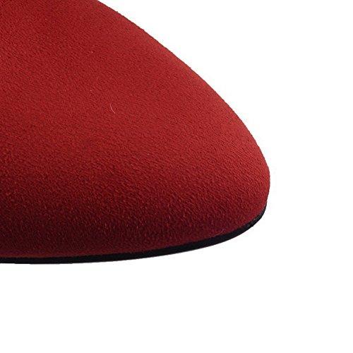 Femme Correct Rouge Couleur Unie Dépolissement à VogueZone009 Talon Pointu Bottes Zip PdCUgOxw