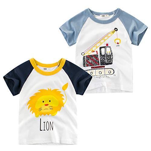 Oyoden Bambino Maglietta Manica Corta Ragazzi Cotone T Shirt Casual Cartone Animato Tops 1 8 Anni 2 Pack