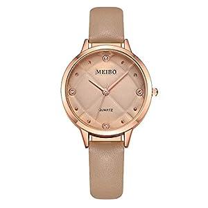Damen Uhren KiyomiQvQ Einfache Lederband Armbanduhr Rautenmuster Druck Zifferblatt Markenuhren mit Kristall Frauen Mode Elegant Watch Charmant Legierung Gehäuse Damenuhr Quarzuhr