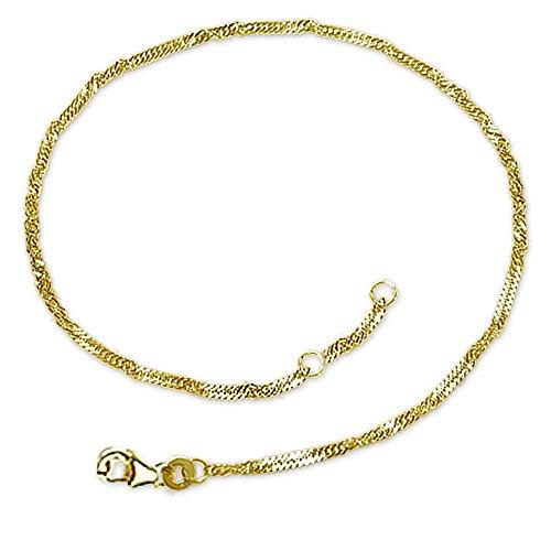 CLEVER SCHMUCK Goldenes Fußkettchen 2,1 mm breit Singapur, gedrehte Optik und 23/25 cm lang und glänzend 333 Gold 8 Karat im Etui