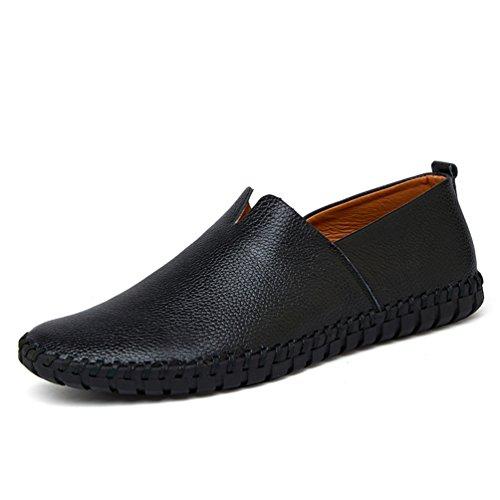 Mens Cow Leder Mens Loafers Mode Handgemachte Lederschuhe Soft Leather Blue Slip auf Herren Bootsschuh