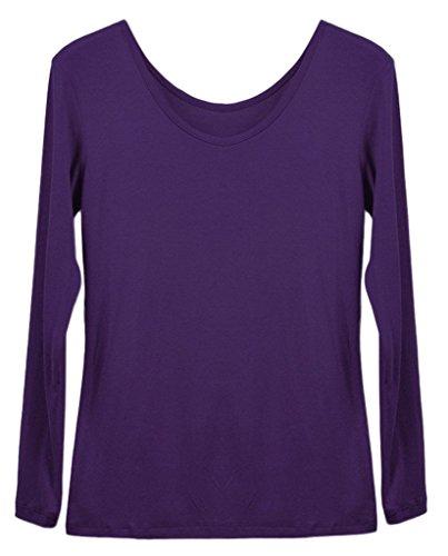 Smile YKK Femme Tops Madal Shirt Elastique Uni Violet