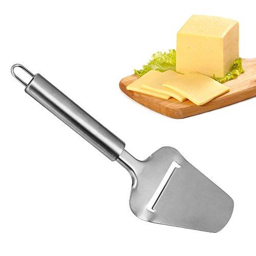 Kbnian Coupe Fromage-Kbnian-Couteau à Fromage, Râpe à Parmesan, Couteau éminceur Professionnel en Inox Forme Pelle à Tarte pour Fromages/ Jambon/ Charcuterie/ Chocolat/ Gâteaux - Argenté