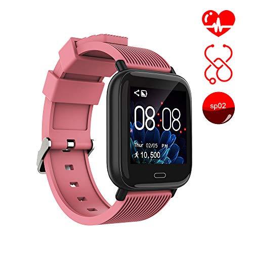 Smart Watch Ayete Fitness Tracker mit Herzfrequenz-/Blutdrucküberwachung Fitness Uhr smart Sportuhr Wasserfest gemäß IP67 Armbanduhr Kamerafernbedienung Damen Smart-Armband für Android iOS (Rosa)