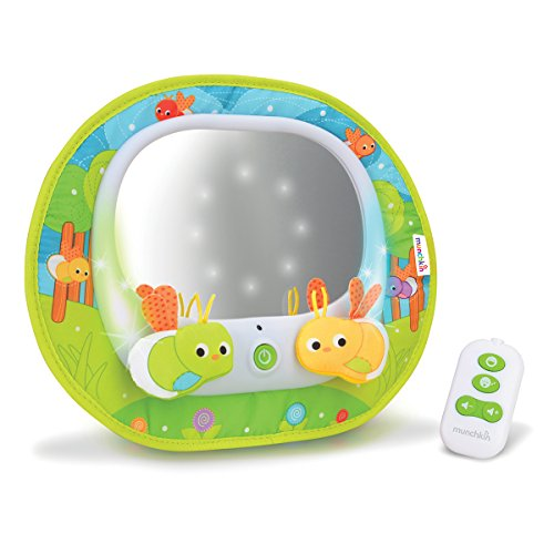 Munchkin Babyrücksitzspiegel fürs Auto Baby In-Sight Magischer Firefly-mit Ledlampen, Licht, Musik und Fernbedienung