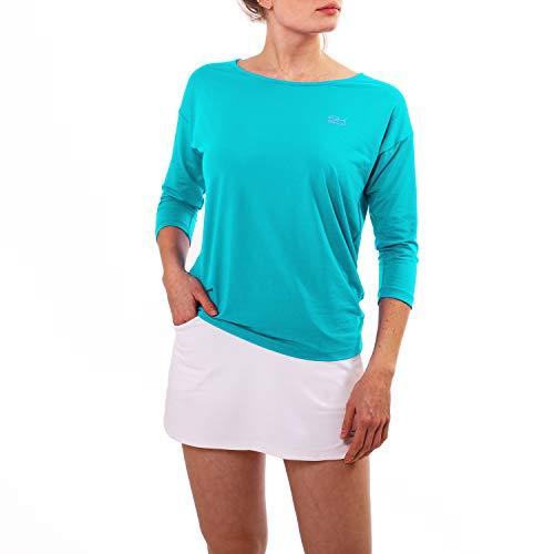 Sportkind Mädchen & Damen Tennis, Fitness, Sport 3/4 Loose Fit Shirt, türkis - neu, Gr. XL
