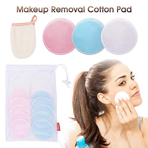 Make-up Removal Wipes (17Pcs Makeup Removal Wattepad Bambusfaser Baumwolle Runden Pad, Waschbar Organic Soft Facial Clean Wipes Gesicht, Mit Waschhandschuhen Wäschesack)