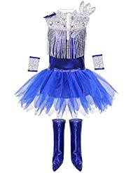 a3fa6d1a95171 Agoky Vestido Tutú con Lentejuelas Brillantes Danza para Niñas Disfraces  Baile Moderno Jazz Hip-Hop