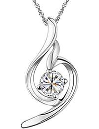 """Chaomingzhen Charm rhodiniert 925 Sterling Silber weiss Soft-Line-Anhänger Halskette für Damen mit Kette 18"""""""