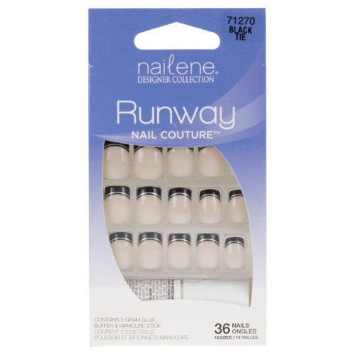 Nailene Designer Collection Runway Nail Couture False Nails - Black Tie (71270) (Tie Couture Black)