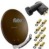 Fuba DAA 780 B 74x84 cm Sat Schüssel Alu Braun + LNB Quad 0,1 dB PremiumX PXQS-SE Quattro Switch zum Direktanschluss von 4 Teilnehmern Digital HDTV Full HD 3D tauglich + 8x F- Stecker vergoldet