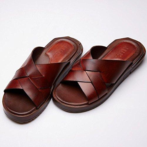 Slipper spessore delle mensole sandali del cuoio genuino per estate modo e comodo da indossare vt16809 ginger yellow